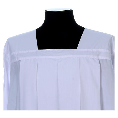 White alb for amice with 4 pleats in cotton mix 4