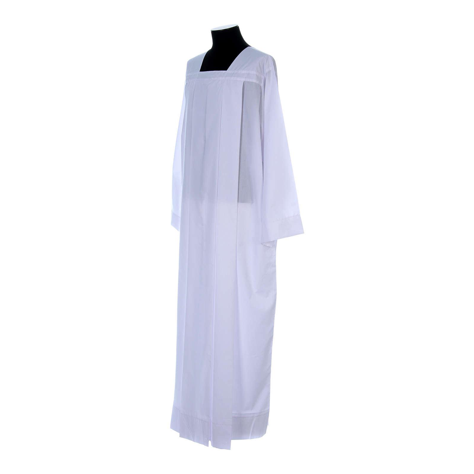 Alba para amito blanca 4 pliegues cuello cuadrado mixto algodón 4