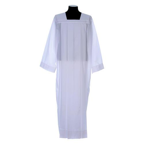 Alba para amito blanca 4 pliegues cuello cuadrado mixto algodón 1