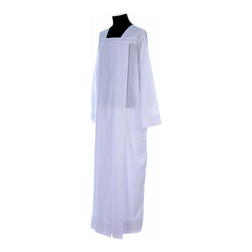 Alba para amito blanca 4 pliegues cuello cuadrado mixto algodón 2