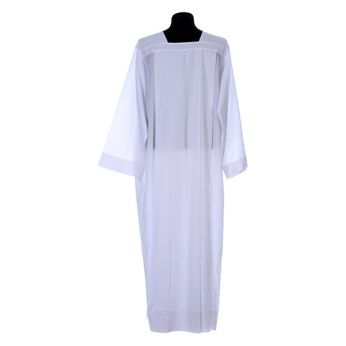 Alba para amito blanca 4 pliegues cuello cuadrado mixto algodón 3