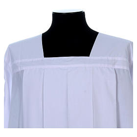 Alba do humerału biała 4 zakładki dekolt kwadratowy bawełna mieszana s4
