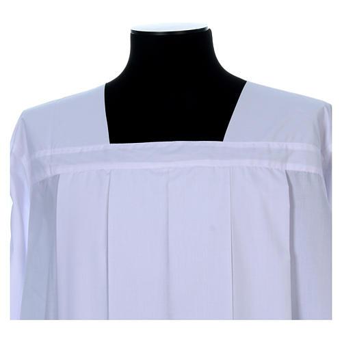 Alba do humerału biała 4 zakładki dekolt kwadratowy bawełna mieszana 4
