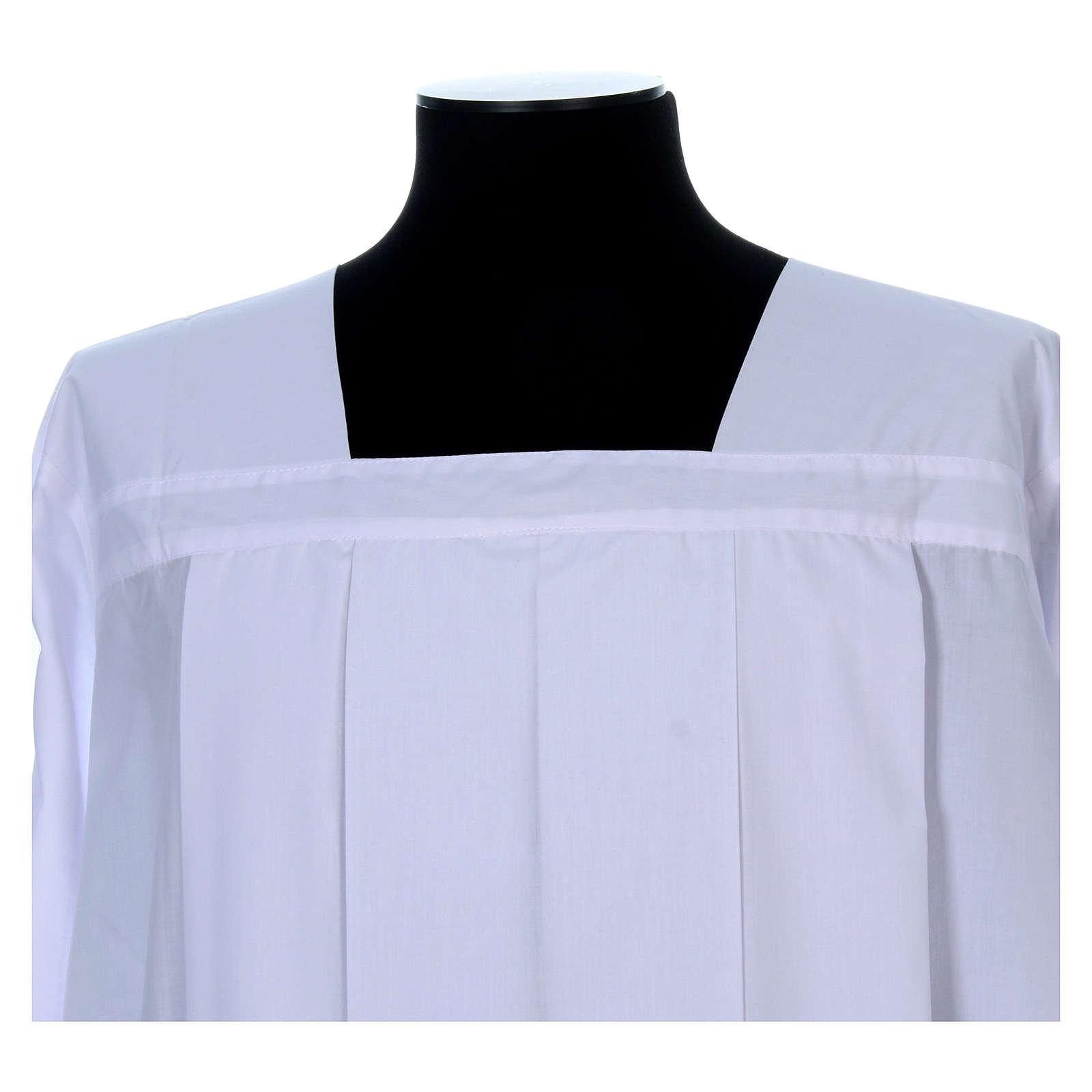 Alva para amito branca pregas gola quadrada misto algodão 4