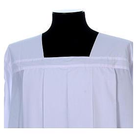 Alva para amito branca pregas gola quadrada misto algodão s4