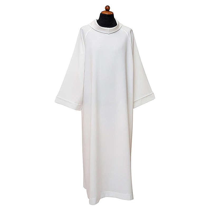 Alba blanca manga raglan y capucha falsa poliéster 100% 4