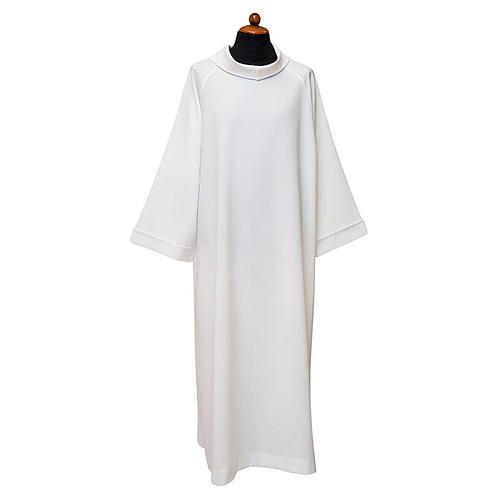 Alba blanca manga raglan y capucha falsa poliéster 100% 1