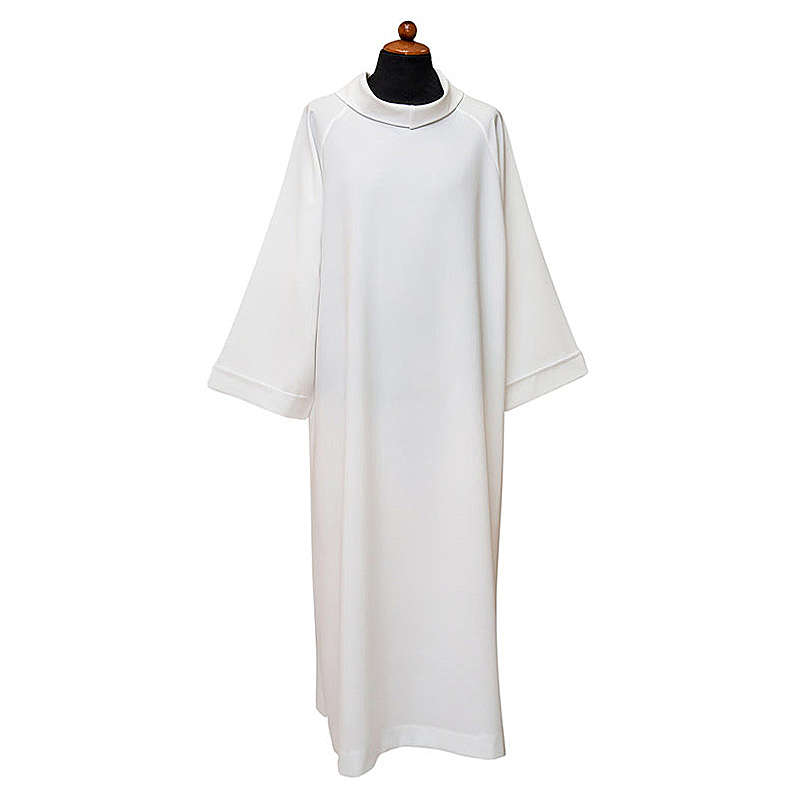 Priest Alb with raglan sleeve and fake hood in 100% polyester 4