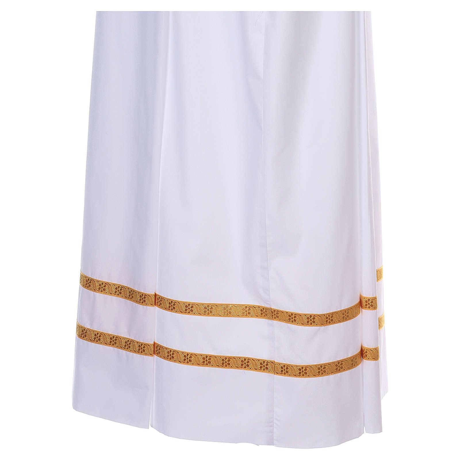 Albe Baumwolle Mischung 2 Falten goldenen Dekorationen weiß 4