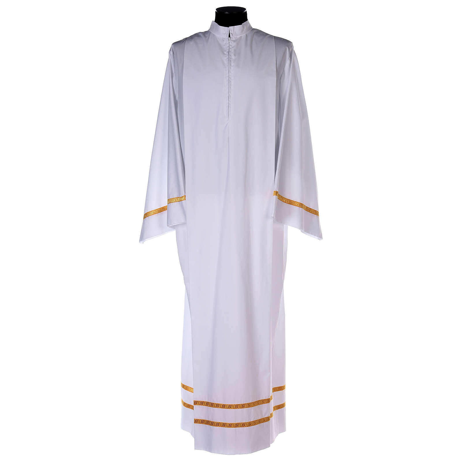 White alb with pleats and golden border and sleeves in cotton mix 4