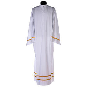 White alb with pleats and golden border and sleeves in cotton mix s1