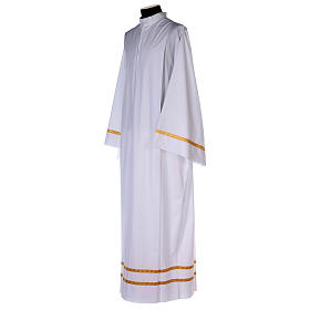 White alb with pleats and golden border and sleeves in cotton mix s3