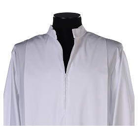 White alb with pleats and golden border and sleeves in cotton mix s4