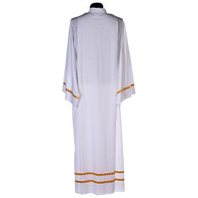 White alb with pleats and golden border and sleeves in cotton mix s5