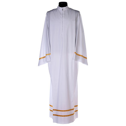 White alb with pleats and golden border and sleeves in cotton mix 1