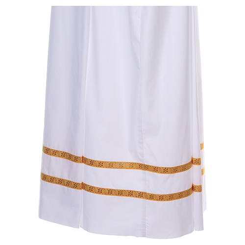 White alb with pleats and golden border and sleeves in cotton mix 2