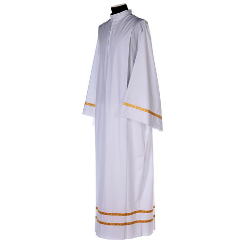 White alb with pleats and golden border and sleeves in cotton mix 3