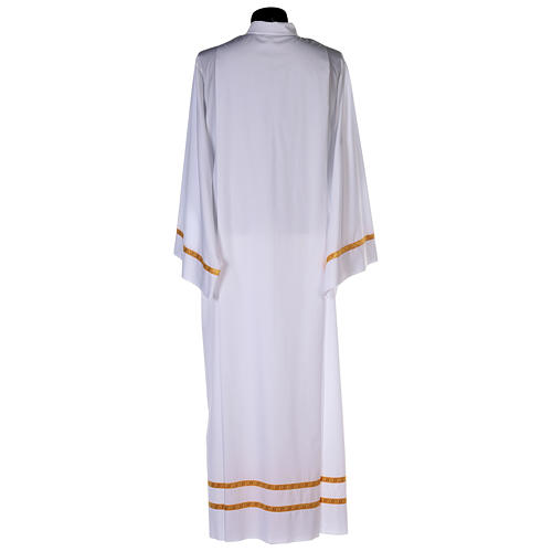 White alb with pleats and golden border and sleeves in cotton mix 5