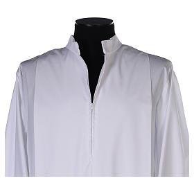 Alba blanca pliegues y orillo dorado en la parte baja y mangas algodón mixto s4