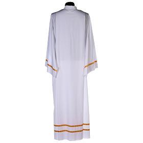 Alba blanca pliegues y orillo dorado en la parte baja y mangas algodón mixto s5