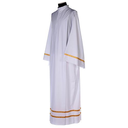 Alba blanca pliegues y orillo dorado en la parte baja y mangas algodón mixto 3