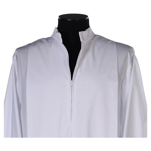 Alba blanca pliegues y orillo dorado en la parte baja y mangas algodón mixto 4