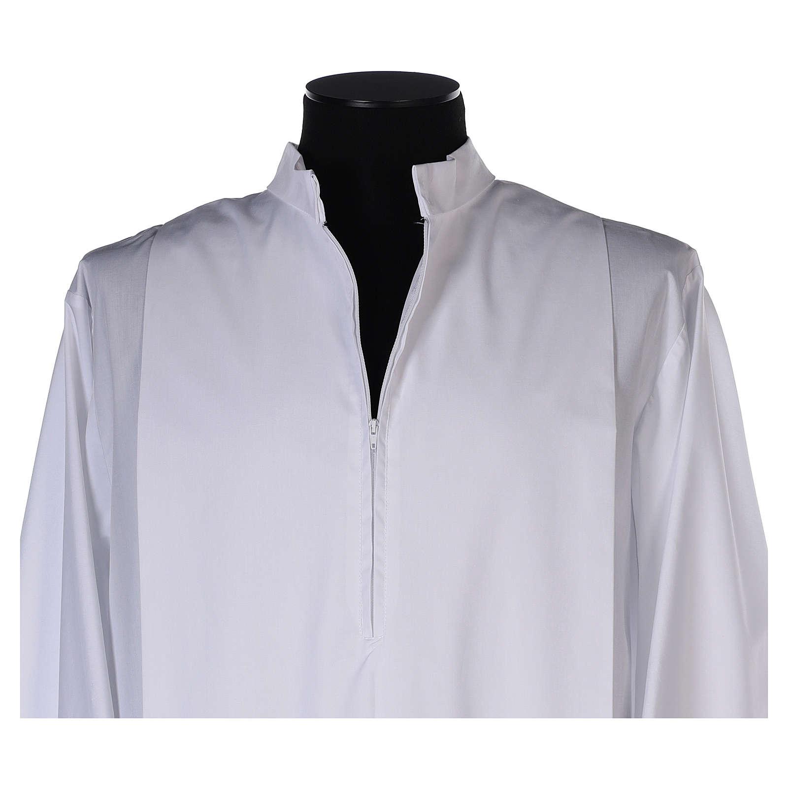 Aube blanche plis et bord inférieur et de manches doré coton mixte 4