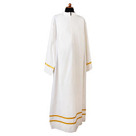 Camice bianco piegoni e bordo color oro su fondo e maniche misto cotone s1