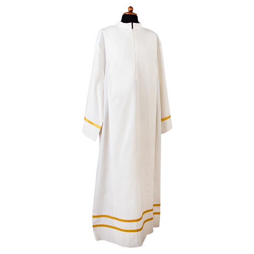 Camice bianco piegoni e bordo color oro su fondo e maniche misto cotone 1
