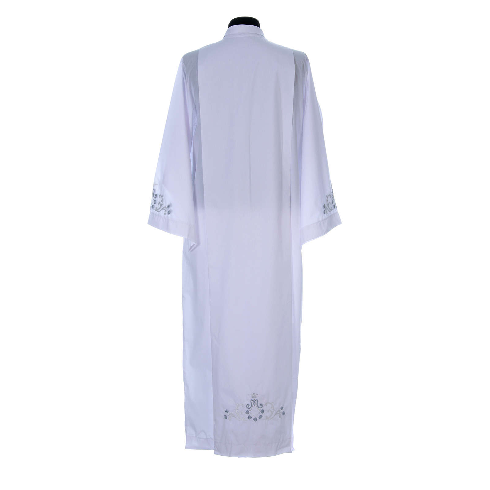 White alb with Marian embroidery on back and front in cotton mix 4