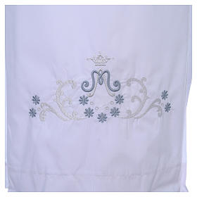 White alb with Marian embroidery on back and front in cotton mix s4