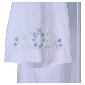 White alb with Marian embroidery on back and front in cotton mix s5