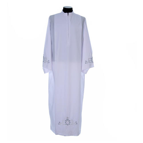 White alb with Marian embroidery on back and front in cotton mix 1
