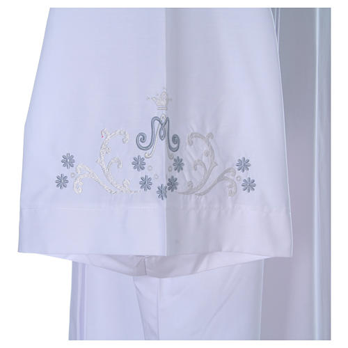 White alb with Marian embroidery on back and front in cotton mix 5