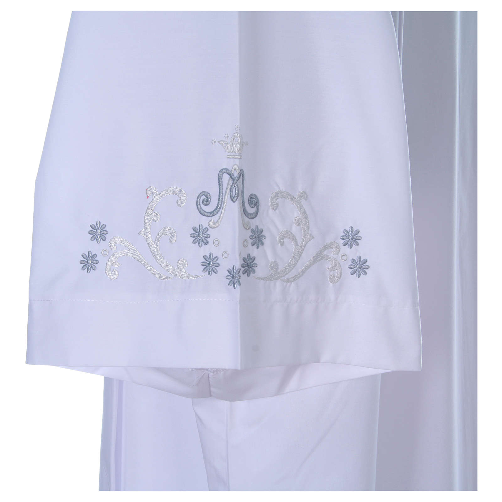 Alba z haftem Maryjnym przód tył rękaw bawełna mieszana 4