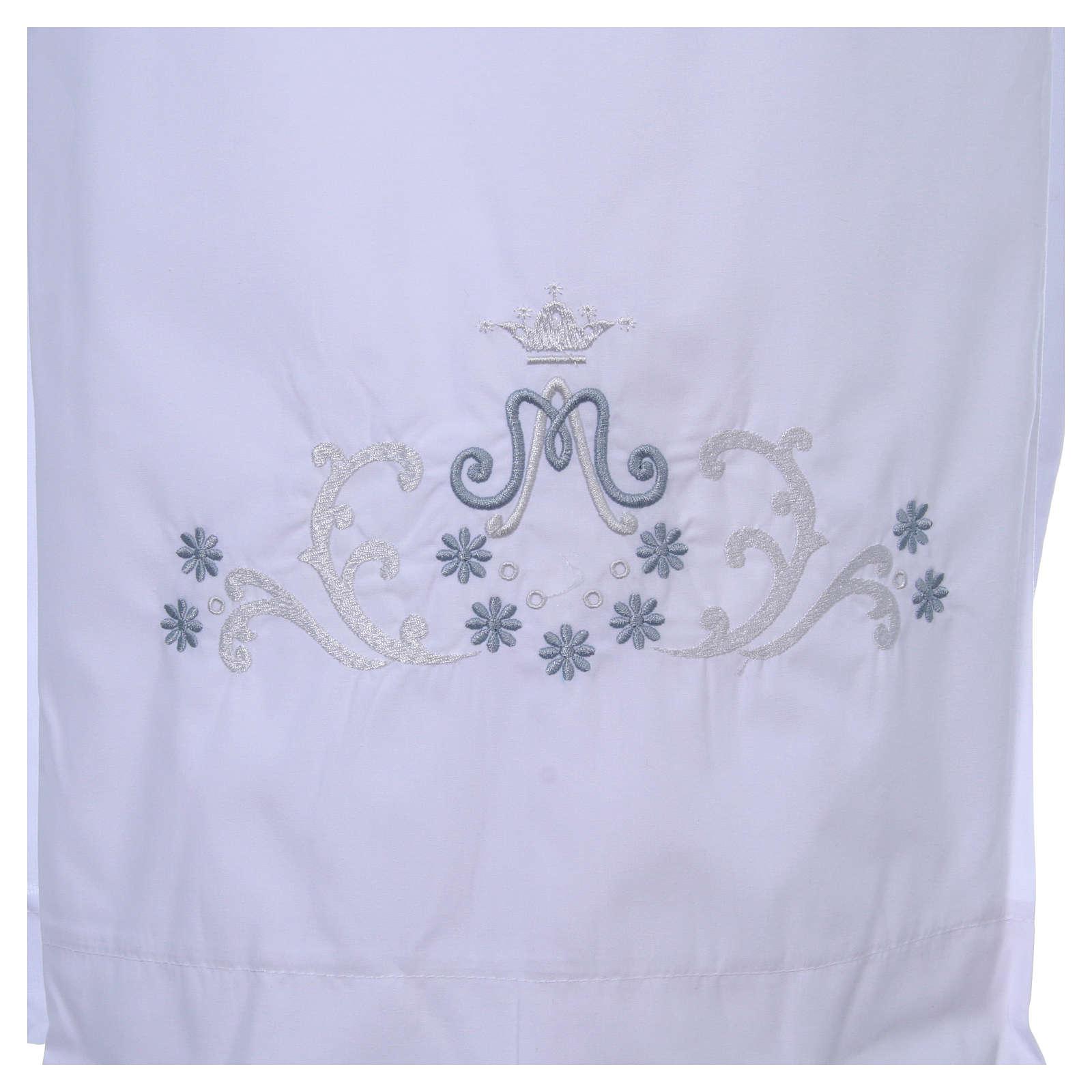 Alva com bordado mariano ambos lados punhos misto algodão 4