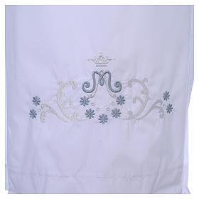 Alva com bordado mariano ambos lados punhos misto algodão s4