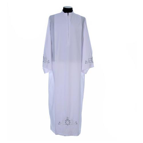 Alva com bordado mariano ambos lados punhos misto algodão 1