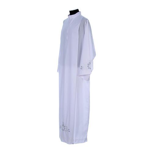 Alva com bordado mariano ambos lados punhos misto algodão 2