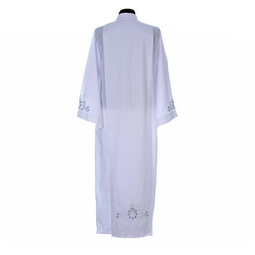 Alva com bordado mariano ambos lados punhos misto algodão 3