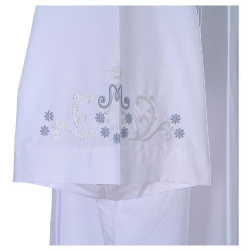 Alva com bordado mariano ambos lados punhos misto algodão 5