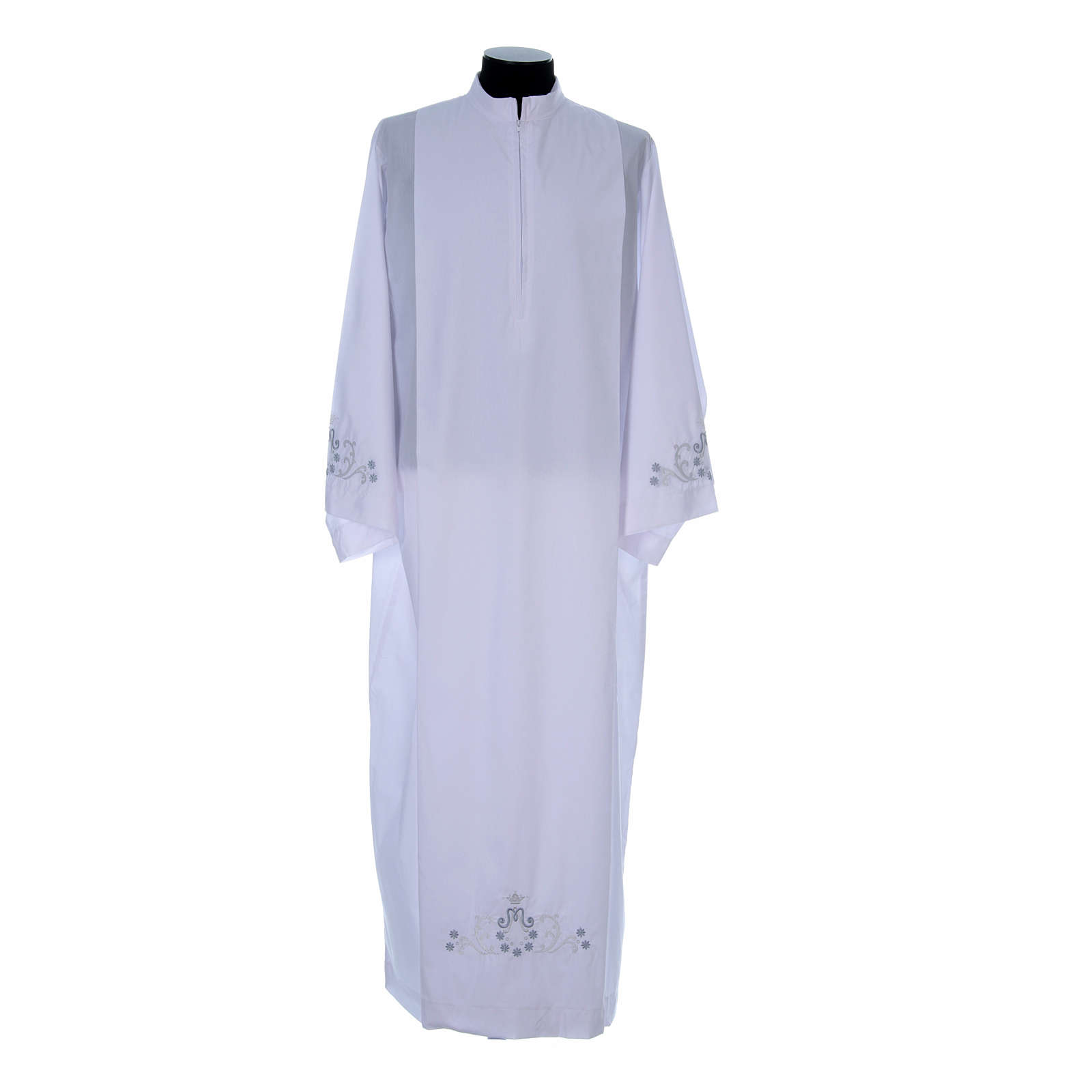Deacon alb with Marian embroidery on back and front in cotton mix 4