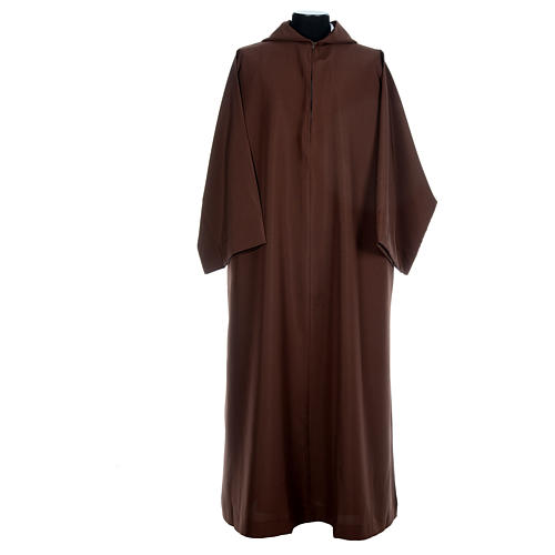 Franciscan brown alb in polyester with front zipper 1