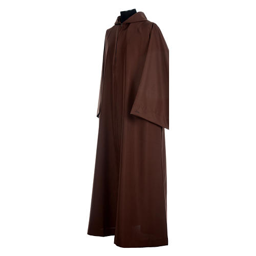 Franciscan brown alb in polyester with front zipper 2