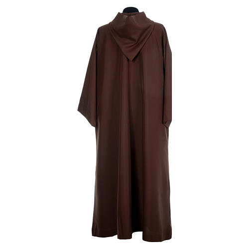 Franciscan brown alb in polyester with front zipper 3