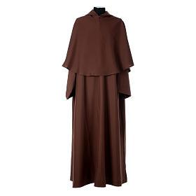 Hábito franciscano capucha marrón poliéster s1