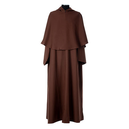 Hábito franciscano capucha marrón poliéster 1