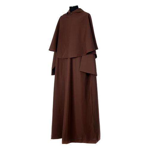 Hábito franciscano capucha marrón poliéster 2