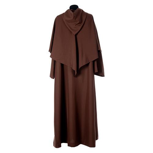 Hábito franciscano capucha marrón poliéster 3