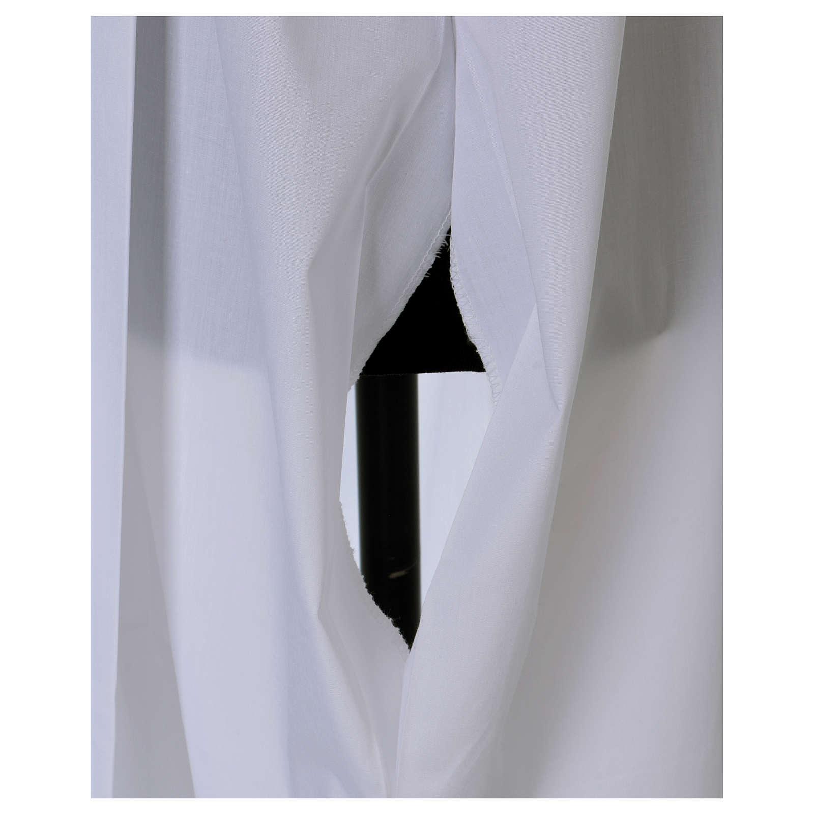 Alba con pliegues y encaje cáliz en la parte baja y mangas 4